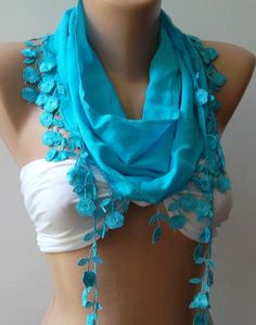 Blue  Elegance  Shawl / Scarf With Lacy Edge By Womann On Etsy, $16.00