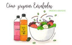 Cómo preparar ensaladas variadas y creativas | Food Blogging Recetas Cocina Creativa Ilustración de comida Food Illustration