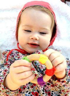 Rainbow Crochet teether baby first Christmas gift by FairyOfColor