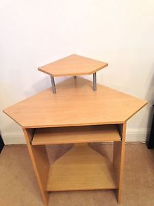 Etonnant Beech Effect Small Corner Computer Desk With Hutch