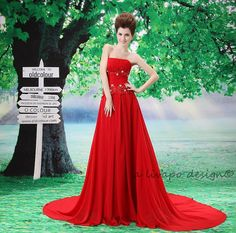 Red Satin Strapless Formal Evening Gown L028 by livapo on Etsy, $169.00