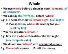 the use of whole, English grammar