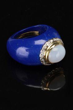 Lapis Ring With 14k Yellow Gold, Diamond & Chalcedony