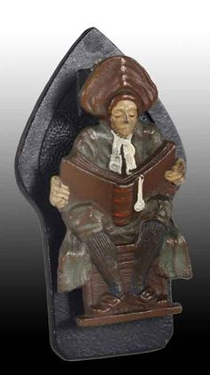 Cast Iron Scholar Man Reading Book door knocker