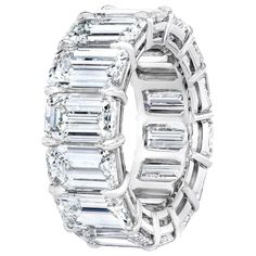 The Ultimate Emerald Cut Eternity Band. 14 Perfectly Matched Emerald Cuts each weighing over 1.20 Carat for 16.98 Carats in Total. F-G Color and VS-VVS Clarity. Set in a Platinum Handmade Classic Setting Emerald Cut Eternity Band, Emerald Cut Diamonds, Eternity Bands, Pink Diamonds, Platinum Jewelry, Diamond Jewelry, Jewelry Rings, Fine Jewelry, Geek Jewelry