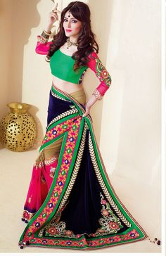 Classic Pink Faux Georgette and Net Party Wear Saree - IG331366USD $ 111.42