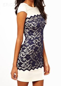 Round-Neck Short Sleeves Lace Sheath Dresses Lace Dresses