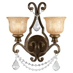 Norwalk Crystal 2-Light Wall Sconce
