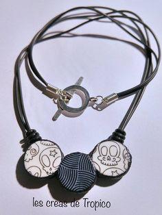 pendentif polymère noir et blanc tête de mort marrante et motif géométrique (fimo,premo,cernit) : Pendentif par les-creas-de-tropico