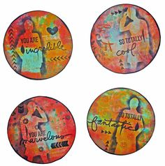 PaperArtsy: 2018 Topic Artist Trading Coins {Topic Introduction and Challenge} Cool Coasters, Cd Art, Atc Cards, Art Programs, Small Art, Artist Trading Cards, Scrapbook Paper Crafts, Coaster Set, Altered Art