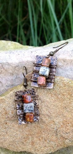 Hammered wire wrapped earrings