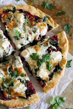 Beet Pesto Pizza with Kale and Goat Cheese is never not a good idea. The slightly crisp goat cheese with the rich kale and nutty, creamy beet pesto is a match made in pizza heaven.