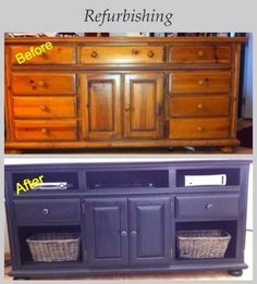 Out with the old in with the new.  Just saved money from purchasing a new T.V. stand. Refurbished dresser. Refurbished Furniture