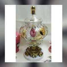 "Vintage candy bowl pedestal compote crystal bohemia czech 11""X6"""