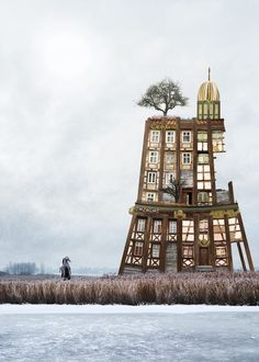 The Surreal Architectural Collages Of Matthias Jung,Zonenrandgebiet (a historic term for 'area adjacent to the Soviet zone'). Image © Matthias Jung