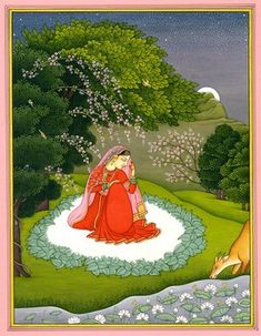 Nayika, Hindu Water Color Painting on PaperArtist: Kailash Raj Mughal Miniature Paintings, Mughal Paintings, Indian Art Paintings, Indian Artwork, Madhubani Art, Madhubani Painting, Indian Traditional Paintings, Traditional Art, Rajasthani Painting