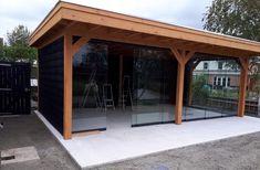 Overkapping Douglas 700 x 350 cm met plat dak Backyard Pavilion, Pergola Patio, Patio Design, Garden Design, Modern Pergola Designs, Hot Tub Room, Big Garden, Outdoor Projects, Garden Inspiration