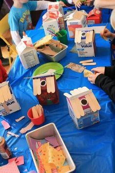 Recycle Craft Milk Carton into a House. Kids Crafts, Preschool Crafts, Projects For Kids, Diy For Kids, Diy And Crafts, Milk Carton Crafts, Music Themed Parties, Music Party, Family Theme