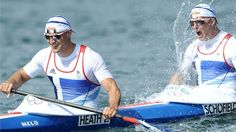 Liam Heath and Jon Schofield of Great Britain celebrate winning a bronze medal in the Men's Kayak Double (K2) 200m Canoe Sprint on Day 15.