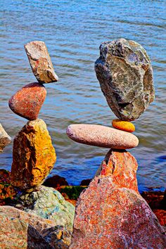 Two Stacks of Balanced Rocks Fine Art Print - Garry Gay