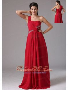 Stylish Red One Shoulder Beading and Ruch 2013 Prom Dress In Naugatuck Connecticut- $114.68  http://pinterest.com/fashionos/  http://www.youtube.com/user/fashionoscom?feature=mhee  Bandage style dresses are very popular figure flattering designs. This one wraps your body in gorgeous chiffon until. The structured bodice has one shoulder made of ruched chiffon ovelay and dazzling beading around waist. The floor-length airy chiffon skirt lets you glide across the dance floor at ease.