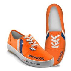 NFL-Licensed Denver Broncos Women's Canvas Sneakers (via Bradford Exchange) -- Oh, wow. These are gorgeous and I want them.