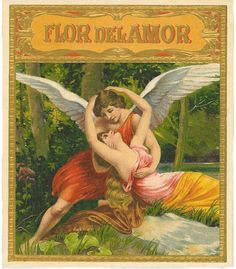 FLOR DEL AMOR  $15  cigar box label, cigar labels, antique, stone lithography, vintage collectible, love and romance
