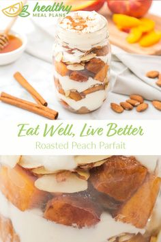 The soft and juicy peaches in this Roasted Peach Parfait are such a savory treat. This parfait is perfect as a healthy dessert or when you're craving something sweet. Gluten Free Peach, Gluten Free Recipes, Vegetarian Recipes, Healthy Recipes, Small Baking Dish, Pescatarian Recipes, Honey And Cinnamon, Recipe Boards, Recipe Details