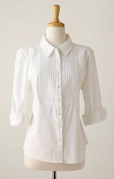 1980's vintage white tuxedo shirt