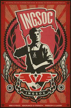 INGSOC propaganda. Inspire by 1984 book, by George Orwell. Soviet like poster.