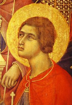 Holy Martyr Crescentius, who suffered alongside Holy Martyrs Paul and Dioscorides in Rome in 326 AD. 14th cent painting by Duccio di Buoninsegna, Cathedral of Santa Maria Assunta, Siena, Italy. (May 28)