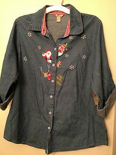 Top White Stag Embroidered Blue Denim Holiday Size Large (12-14)