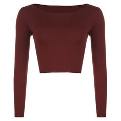WearAll Women's Crop Long Sleeve Ladies Plain T-Shirt Top: Amazon.ca:... ($10) ❤ liked on Polyvore featuring tops, shirts, red long sleeve top, red top, red shirt, crop top and long sleeve shirts