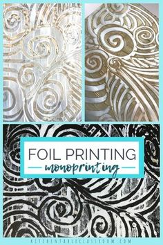 This foil pritntmaking method produces monoprints but the foil printing plate can be used over and over. Foil prints are a great experience for any age! Tin Foil Art, Aluminum Foil Art, Art Lessons Elementary, Art Lesson Plans, Art Classroom, Art Activities, Therapy Activities, Art Plastique, Teaching Art