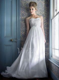 Wedding Dresses - $138.99 - Empire Strapless Sweetheart Court Train Chiffon Wedding Dress With Ruffle Lace Beading (00205002039)