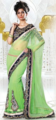 $81.96 Green A Line Embroidered and Cut Work Lehenga Saree 26651