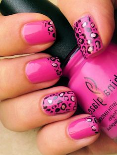 Leopard French Nail Design. I did this same thing to my nails yesterday before seeing this. Hmmmm. Must have been nail karma. Cheryl Saylor 