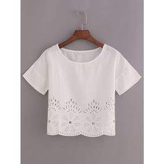 Laser-Cut Loose Fit Top ($7.99) ❤ liked on Polyvore featuring tops, white, white top, loose white top, short sleeve tops, loose tops and white collar top