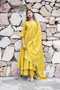 75cac9b5fd Chokhi Bandhani Women's Cotton Dress with Palazzo and Dupatta in Yellow
