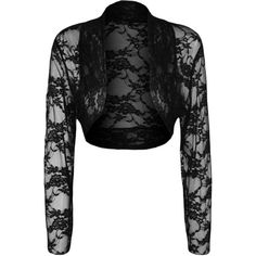 Brianna Long Sleeve Lace Shrug ($19) ❤ liked on Polyvore featuring outerwear, black, long sleeve lace shrug, lace shrug, shrug cardigan, cardigan shrug and evening shrugs