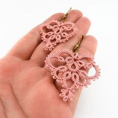 Delicate lace earrings lace jewelry in dusty rose pink