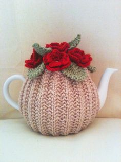 Blood Red Roses Flower Garden Tea Cosy - Oatmeal Base -  in Pure Merino Wool by Tafferty Designs size LARGE - Made to Order. $38.00, via Etsy.