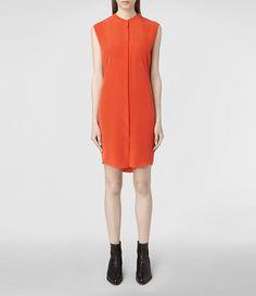 Womens Luna Shirt Dress (Burnt Orange) | ALLSAINTS.com
