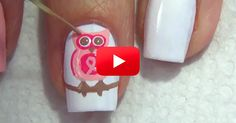Who Wants Another Awareness Nail Art Tutorial? Owl Nail Art, Owl Nails, Minion Nails, Funky Nail Art, Funky Nails, Cute Nails, Breast Cancer Nails, Breast Cancer Awareness, Natural Beauty Tips