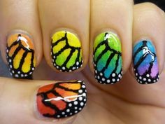 Rainbow Monarch Butterfly Nail Art Tutorial - YouTube