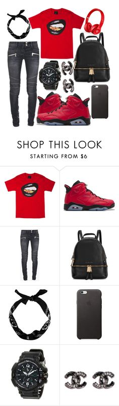 """""""Blood Gang"""" by neilaninewsome ❤ liked on Polyvore featuring Retrò, Balmain, Michael Kors, G-Shock, Beats by Dr. Dre, women's clothing, women, female, woman and misses"""