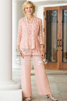 3PC Pink lace Trousers set Mother of the bride pant suits dresses for  wedding nmo- 180adc3efb50