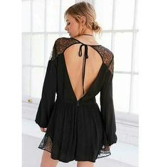 1c0248b1a355 Kimchi Blue Lyle Gothic Lace Tie-Back Romper - Urban Outfitters