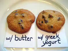 Conversion chart for substituting greek yogurt for butter. Honestly I hate greek yogurt but I wanna try them to see if the greek yogurt cookie is just as yummy Healthy Treats, Yummy Treats, Sweet Treats, Healthy Recipes, Yogurt Recipes, Healthy Baking, Just Desserts, Delicious Desserts, Dessert Recipes