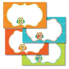 Summer Owls and florals  3 x 5 printable card Labels